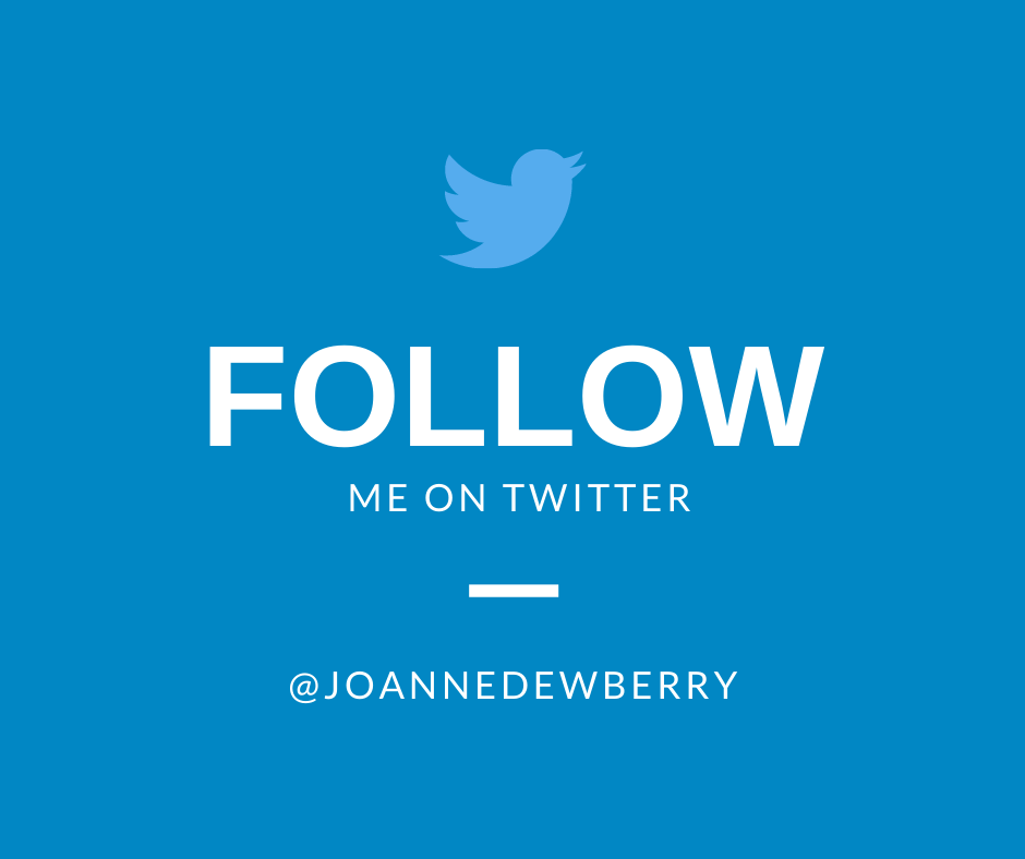 follow me on twitter Joanne Dewberry