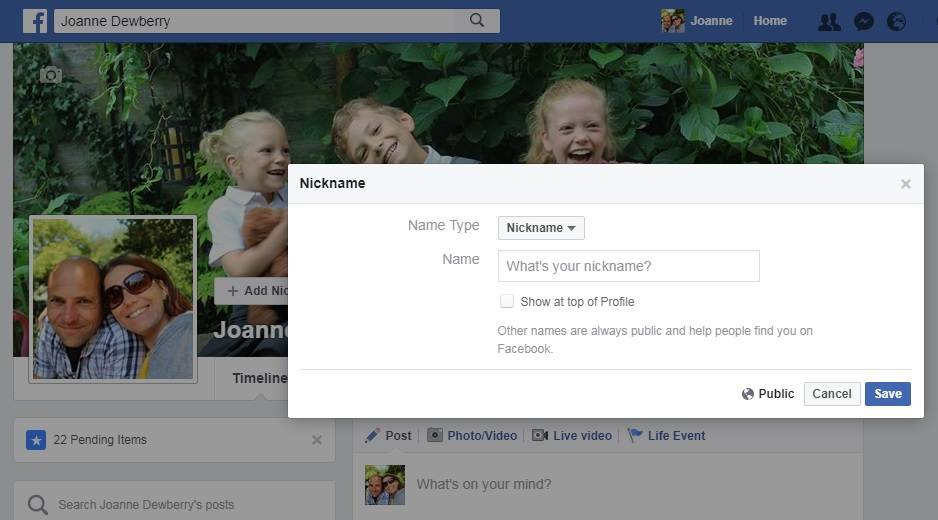Why you should consider adding a nickname to your Facebook personal profile.