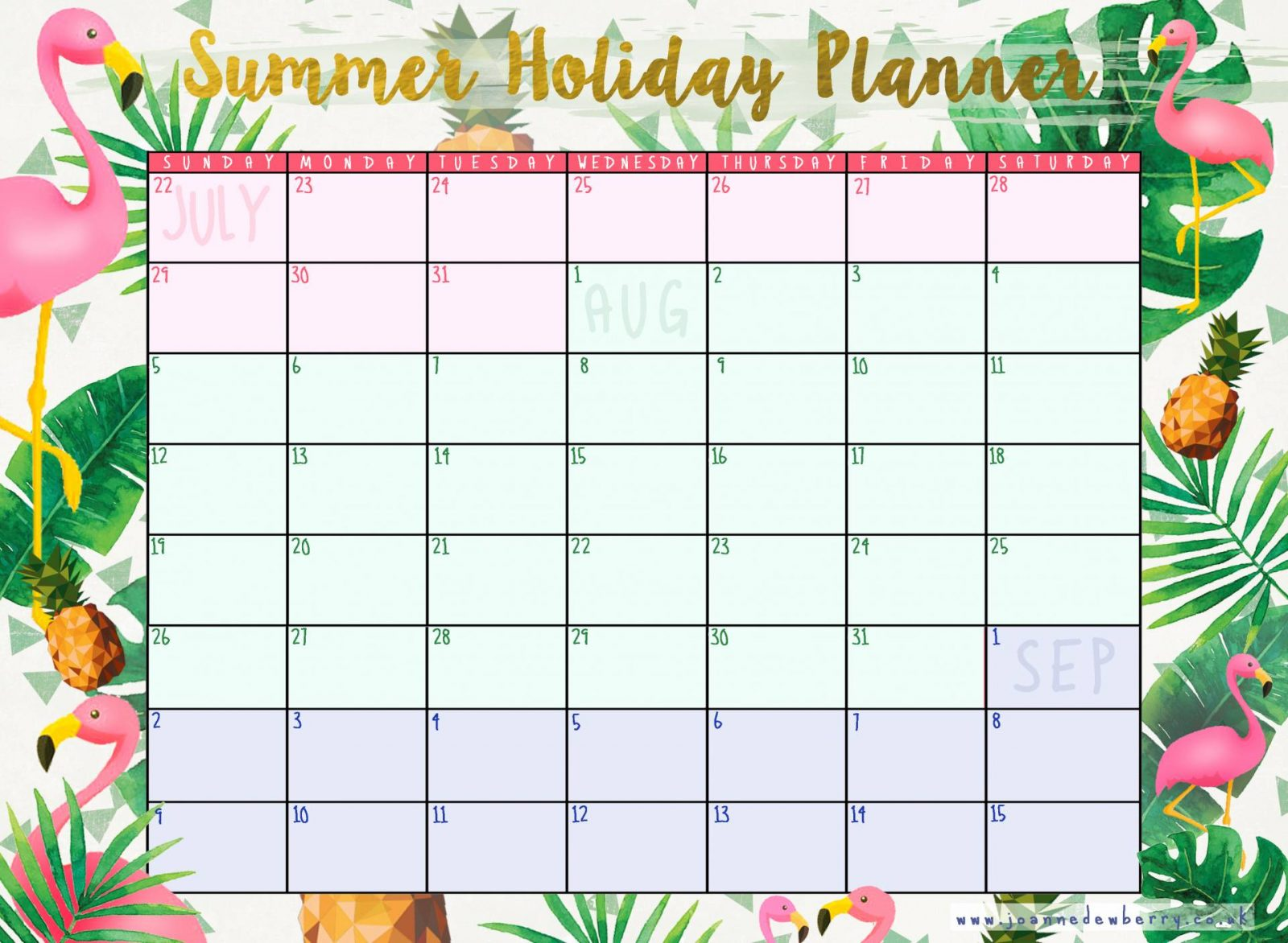 summer holiday planner 2018