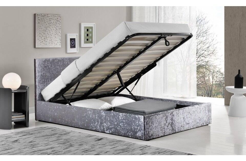 Birlea Berlin Fabric Ottoman Bed - Crushed Velvet Steel, Available from Bedstar